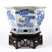 Early 19th c. Chinese Porcelain Jardiniere w/ Stand