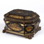19th c. Chinese Export Gilt Lacquer Tea Caddy