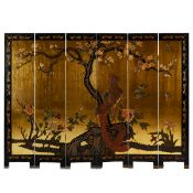 Chinese 6-Panel Lacquered Floor Screen