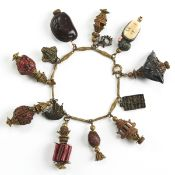 Chinese Charm Bracelet w/ Carved Nuts