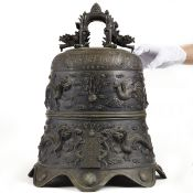 Large Chinese Bronze Bell with Stand - Marked