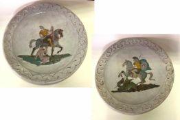 Zwei Wandteller Bogenhausener Keramik