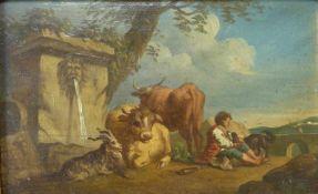 Idyllisches Pastorale am Brunnen