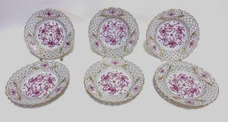 Sechs Meissen - Teller Indisch purpur