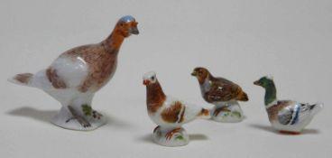 Vier Miniaturen Meissen, Federvieh
