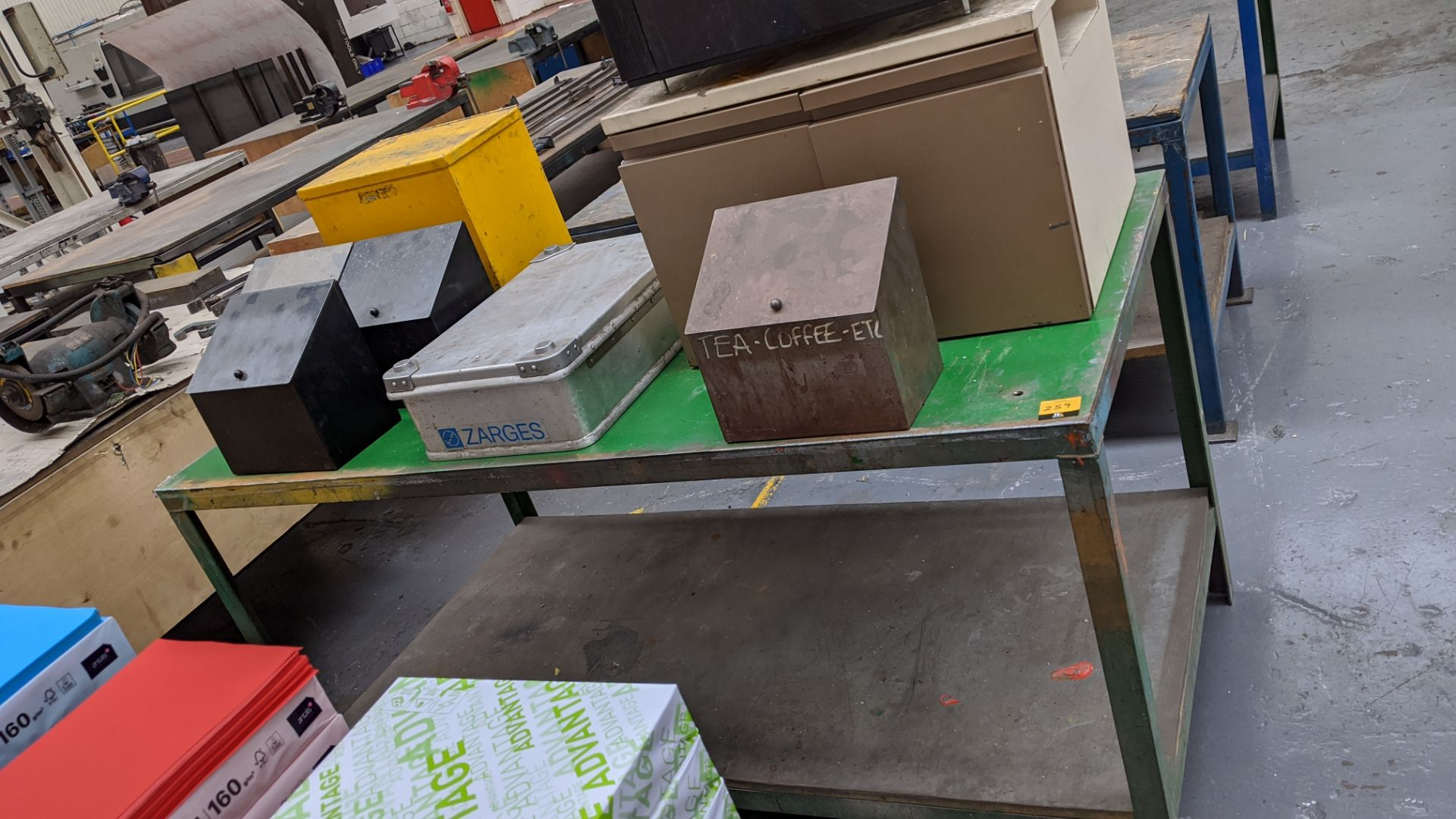 Lot 259 - 3 benches plus quantity of small storage units located on one of the benches
