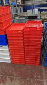 29 off red plastic stacking crates, each measuring 460mm x 760mm x 80mm, in 2 styles, one with holes