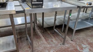 Stainless steel table, table top measuring approximately 900mm x 600mm