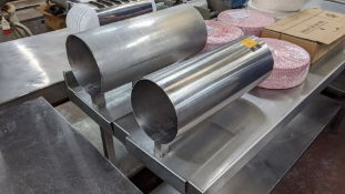 Pair of butcher's netting pipes/stainless steel tubes, one being 150mm diameter & the other being 18