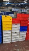 27 off large plastic stacking crates in a variety of colours, each crate measuring 450mm x 760mm x 1