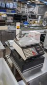 GEC Avery model A400 grocer's scales with twin sided column mounted display. Includes cash drawer.