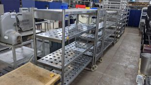 3 heavy-duty racks, used in the cold store, 2 being wide 4-tier racks (1 being 1500mm x 600mm & 1 be