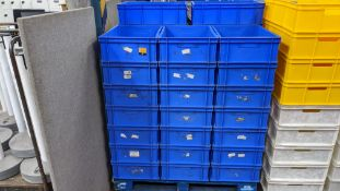 37 off blue plastic stacking crates each measuring circa 390mm x 595mm x 160mm