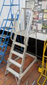Set of library steps with platform working height of 1250mm, max height of 1830mm. Incorporates whe