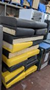 Stack of bench/banquet seating padded seat bases/backs
