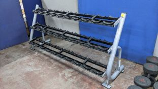 Matrix Magnum MG A42 3 tier dumbbell rack, capable of holding a total of 30 dumbbells