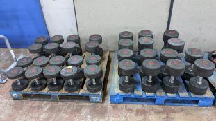 Set of 16 pairs of Ziva ZVO Series rubber dumbbells.