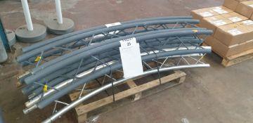 "Optikinetics Trilite 200 Series 2"" aluminium tube truss system in silver & dark grey."