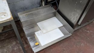 Stainless steel shelf plus 2 off chopping boards