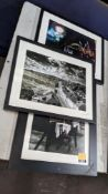3 off assorted framed photographs, 2 of which are signed and dated