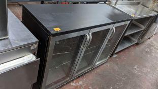 Gamko triple door back bar/bottle fridge in black with stainless steel doors