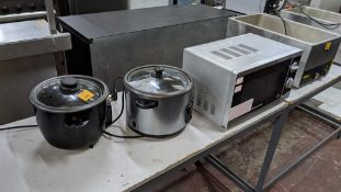 2 off assorted slow cookers plus Morphy Richards microwave