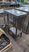 Slimline twin tier stainless steel table