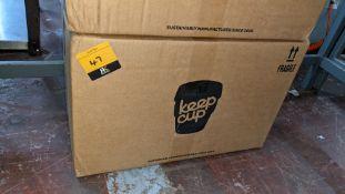 20 off Keepcup original reusable cup, size medium (12oz/340ml). Each unit is dark grey with a turqu