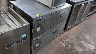 Refrigerated stainless steel prep cabinet with twin sliding drawers - suitable for stacking on top o