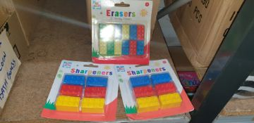 Quantity of Lego-style novelty erasers & sharpeners