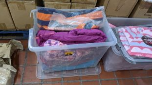 The contents of a crate of assorted children's & adults clothing