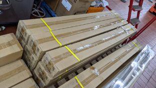 54 off aluminium Venetian blinds in gold colour, 165cm width, 152cm drop