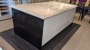 Large island unit with doors & drawers on each side approx. 2300 x 1270mm. The end panels & top appe