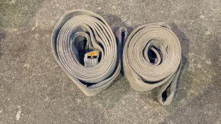 Pair of heavy-duty machine lifting straps