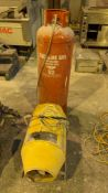 Easi-Heat model 145 industrial space heater NB. Hose appears to be bolted to gas bottle (which appea