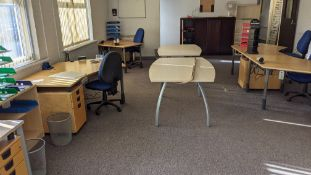 The furniture contents of a large open plan office. This lot effectively comprises all freestanding