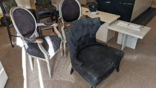 3 off chairs comprising a pair of matching silver painted wooden chairs with upholstered backs & bas