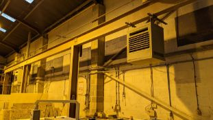2 off industrial space heaters. These units are slung from brackets mounted to horizontal beams, wit