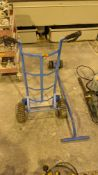 2 off blue metal trolleys comprising sack truck & long handled towing implement