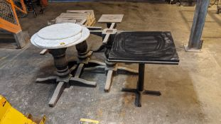 5 off assorted circular & square granite/quartz/marble table tops plus 4 off heavy-duty wooden turnt