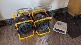 2 off Stanley 2kW space heaters plus small fan heater