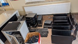 Quantity of IT equipment comprising router cabinet, approx. 10 desktop computers plus monitors, keyb