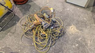 Quantity of 110v extension leads, hose, tools & more