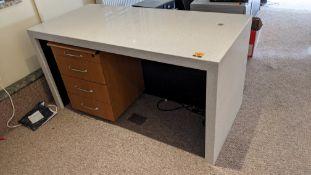 Granite/quartz desk arrangement with mitred corners including the freestanding pedestal