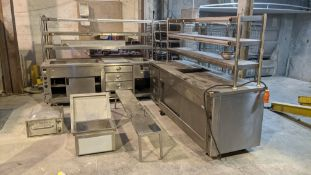Quantity of commercial catering equipment comprising 2 off large counters, tray trolley, shelving &