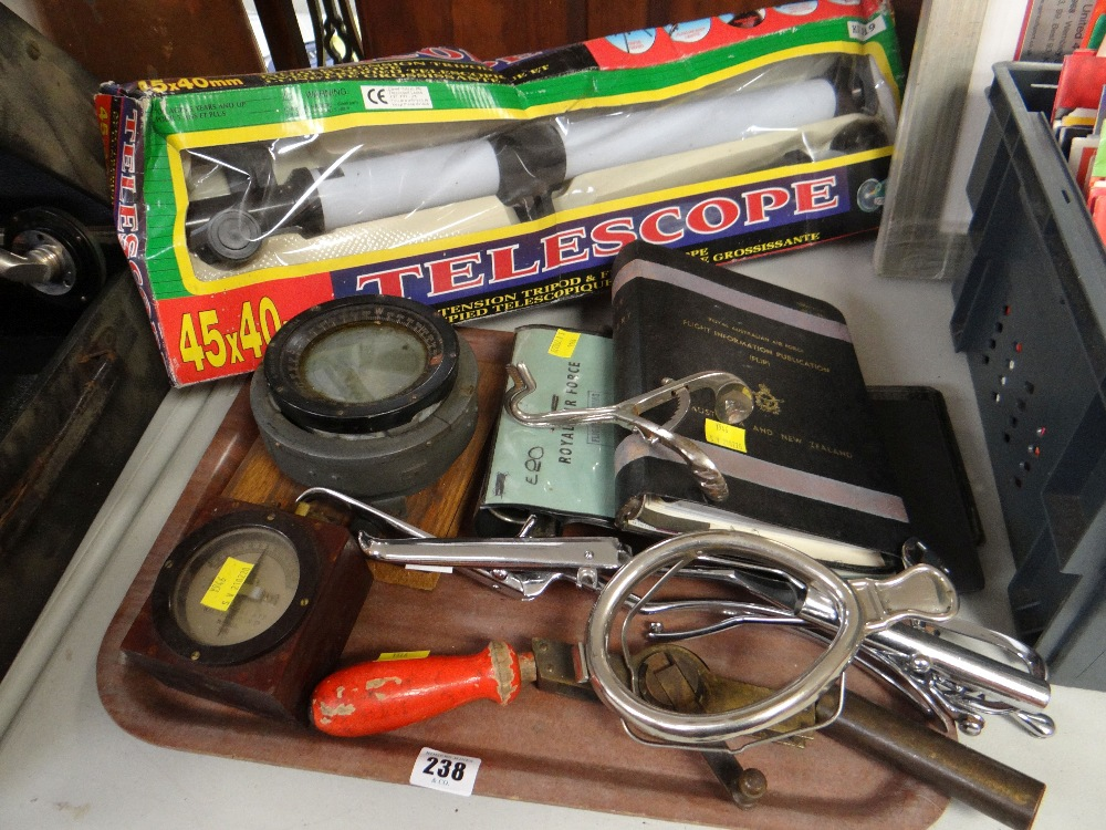 Lot 238 - ASSORTED MEDICAL & OTHER INSTRUMENTS including toy telescope