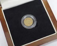 GEORGE I 1718 GOLD QUARTER GUINEA IN PRESENTATION BOX with Certificate of Authenticity and