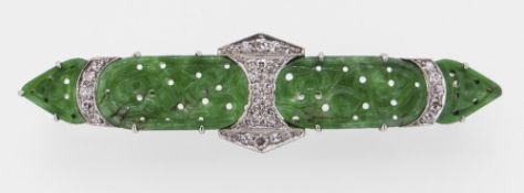 WHITE METAL PIERCED JADE & DIAMOND CHIP OBLONG BROOCH, believed 18ct white gold and platinum, 6cms