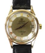 OMEGA PIE PAN DIAL CONSTELLATION CALENDAR GENT'S WRIST WATCH, gold capped stainless steel case,