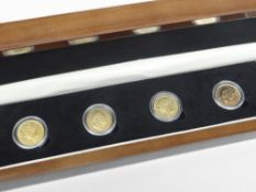 THE SHIELD DESIGN GOLD SOVEREIGN SET comprising all four types of British gold sovereign ever to